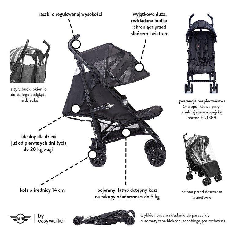 MINI by Easywalker Buggy+ Wózek spacerowy z osłonką przeciwdeszczową LXRY Black