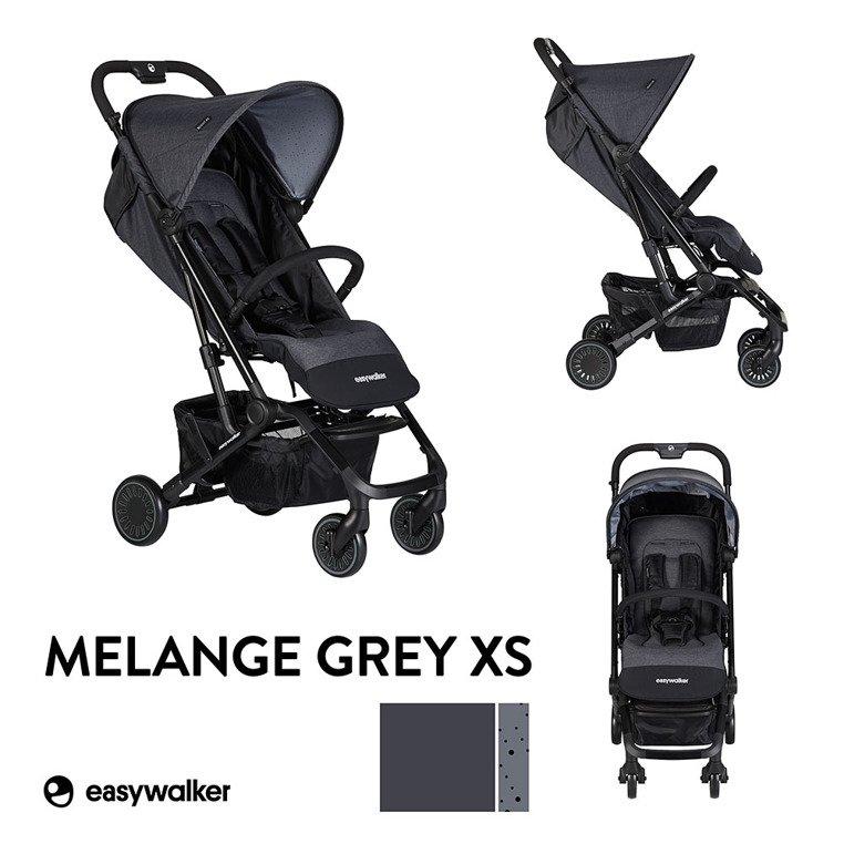 Easywalker Buggy XS Wózek spacerowy z osłonką przeciwdeszczową Melange Grey