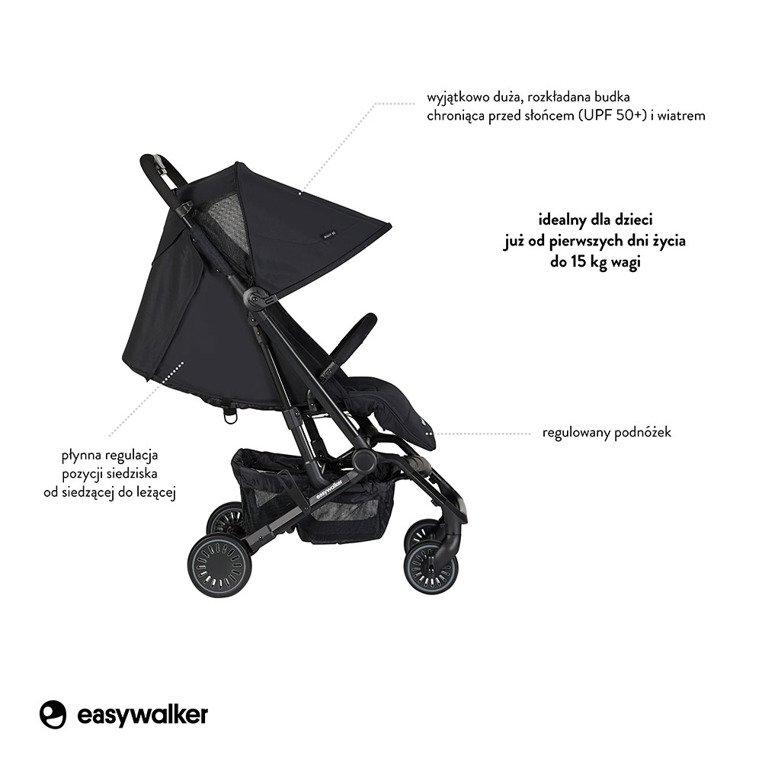 Easywalker Buggy XS Wózek spacerowy z osłonką przeciwdeszczową Night Black